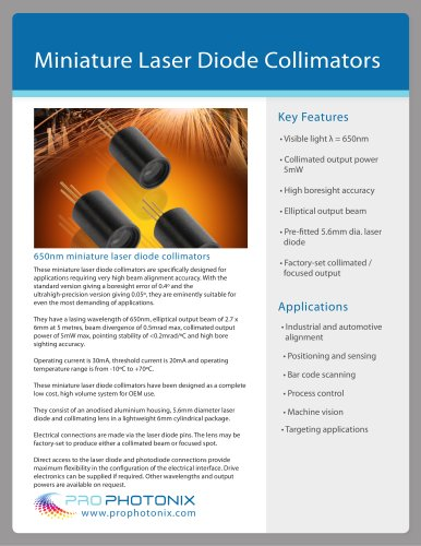 Miniature Laser Diode Collimator