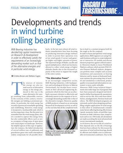 Developments and Trends in Wind Turbine Rolling Bearings