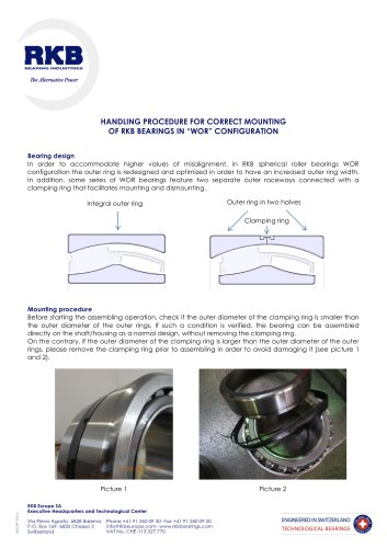Handling Procedure for Correct Mounting of RKB Bearings in WOR Configuration