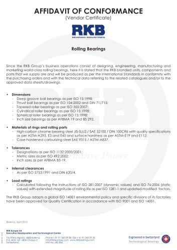 International Vendor Certificate