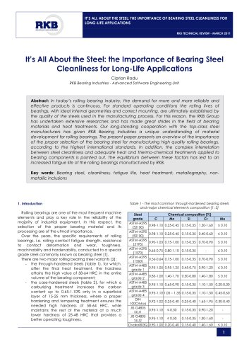 It's All About the Steel: the Importance of Bearing Steel Cleanliness for Long-Life Applications