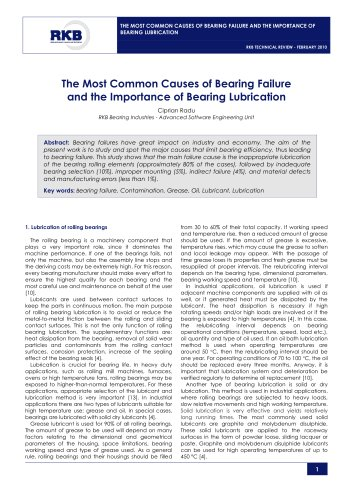 The Most Common Causes of Bearing Failure and the Importance of Bearing Lubrication