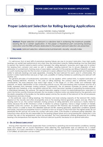 Proper Lubricant Selection for Rolling Bearing Applications