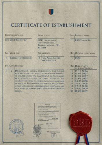 RKB Certificate of establishment