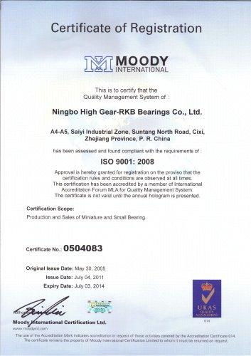 RKB Certificate of Registration ISO 9001