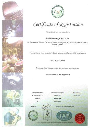 RKB India Certificate of Registration ISO 9001