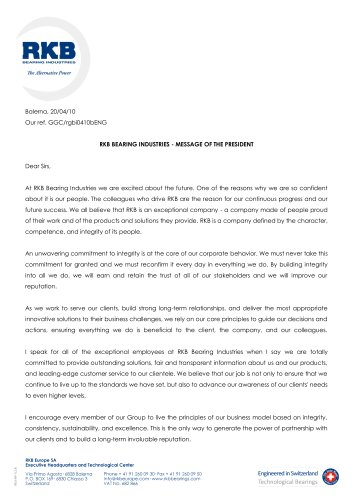 RKB Message of the President