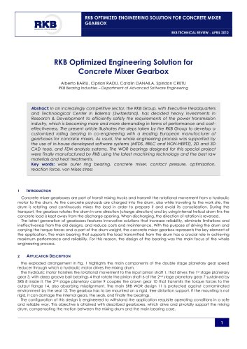 RKB Optimized Engineering Solution for Concrete Mixer Gearbox