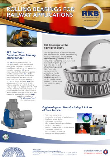 RKB Rolling Bearings for Railway Applications