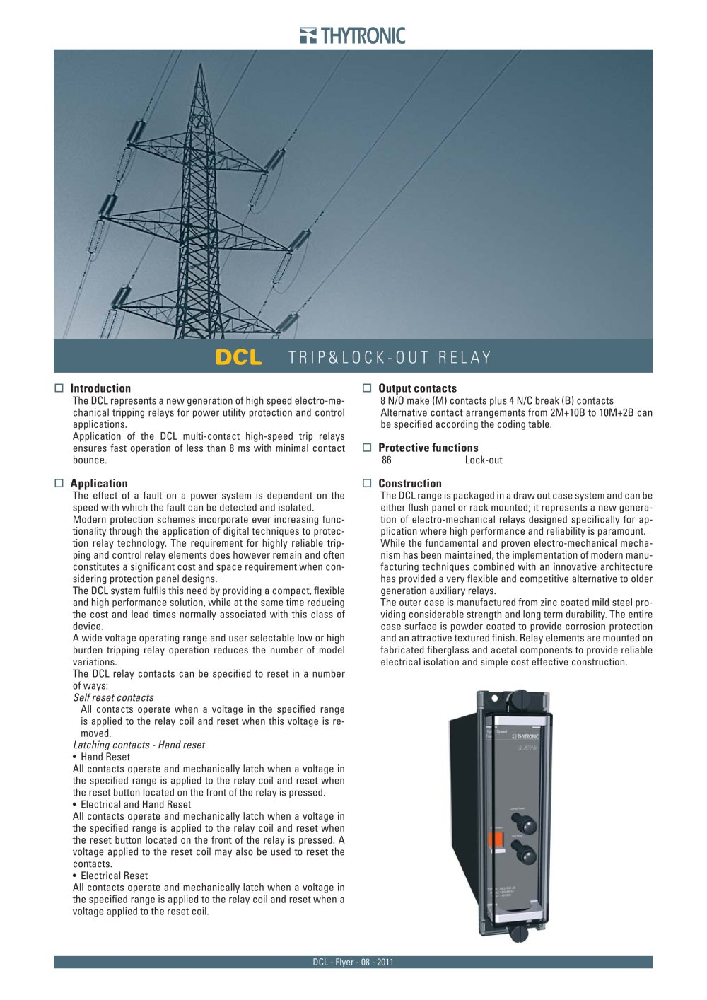Dcl Flyer Thytronic Pdf Catalogue Technical Documentation Power Relay Operation 1 8 Pages