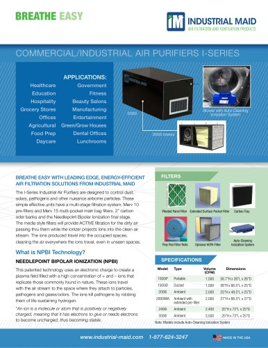 COMMERCIAL/INDUSTRIAL AIR PURIFIERS I-SERIES
