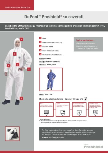 DuPont™ Proshield ® 10 / 30 coveralls