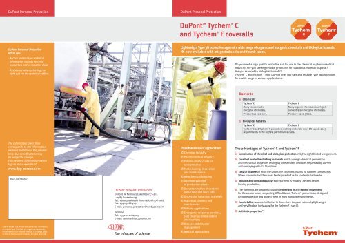 DuPont™ TYCHEM ® C and TYCHEM ® F coveralls