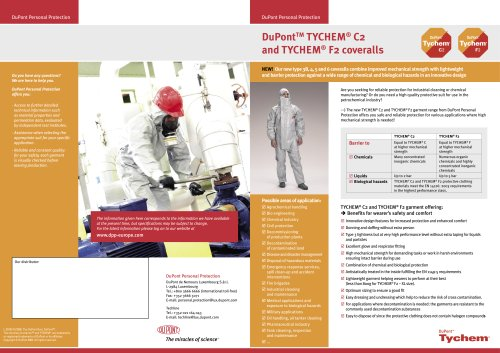 DuPont™ TYCHEM® C2 and TYCHEM® F2 coveralls