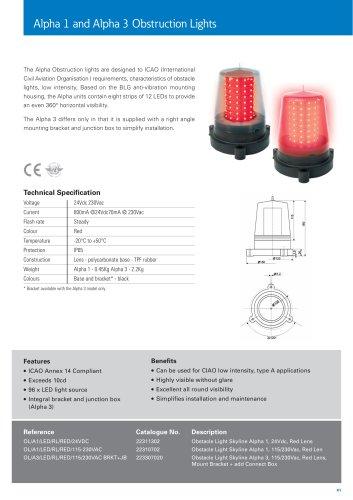 Alpha 1 and Alpha 3 Obstruction Lights Datasheet
