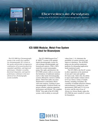Biomolecule Analysis Using the ICS-5000 Ion Chromatography System