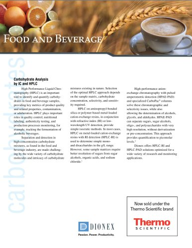 Carbohydrate Analysis for the Food and Beverage Industry