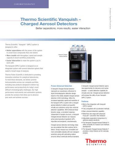 Thermo Scientific Vanquish – Charged Aerosol Detectors