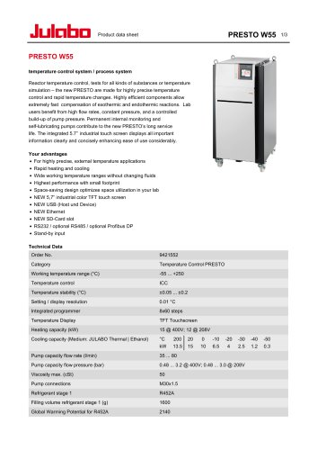 Product data sheet PRESTO W55