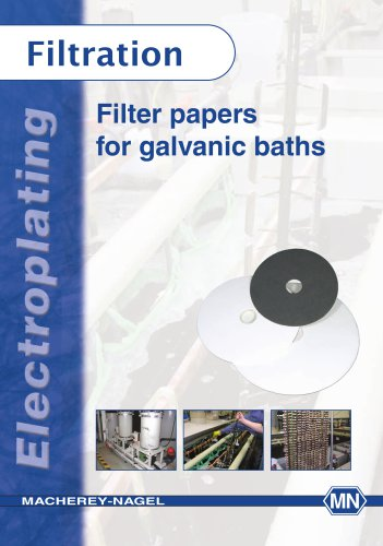 Filter papers for galvanic baths
