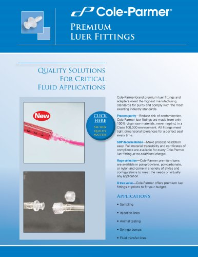 Cole-Parmer® premium luer fittings