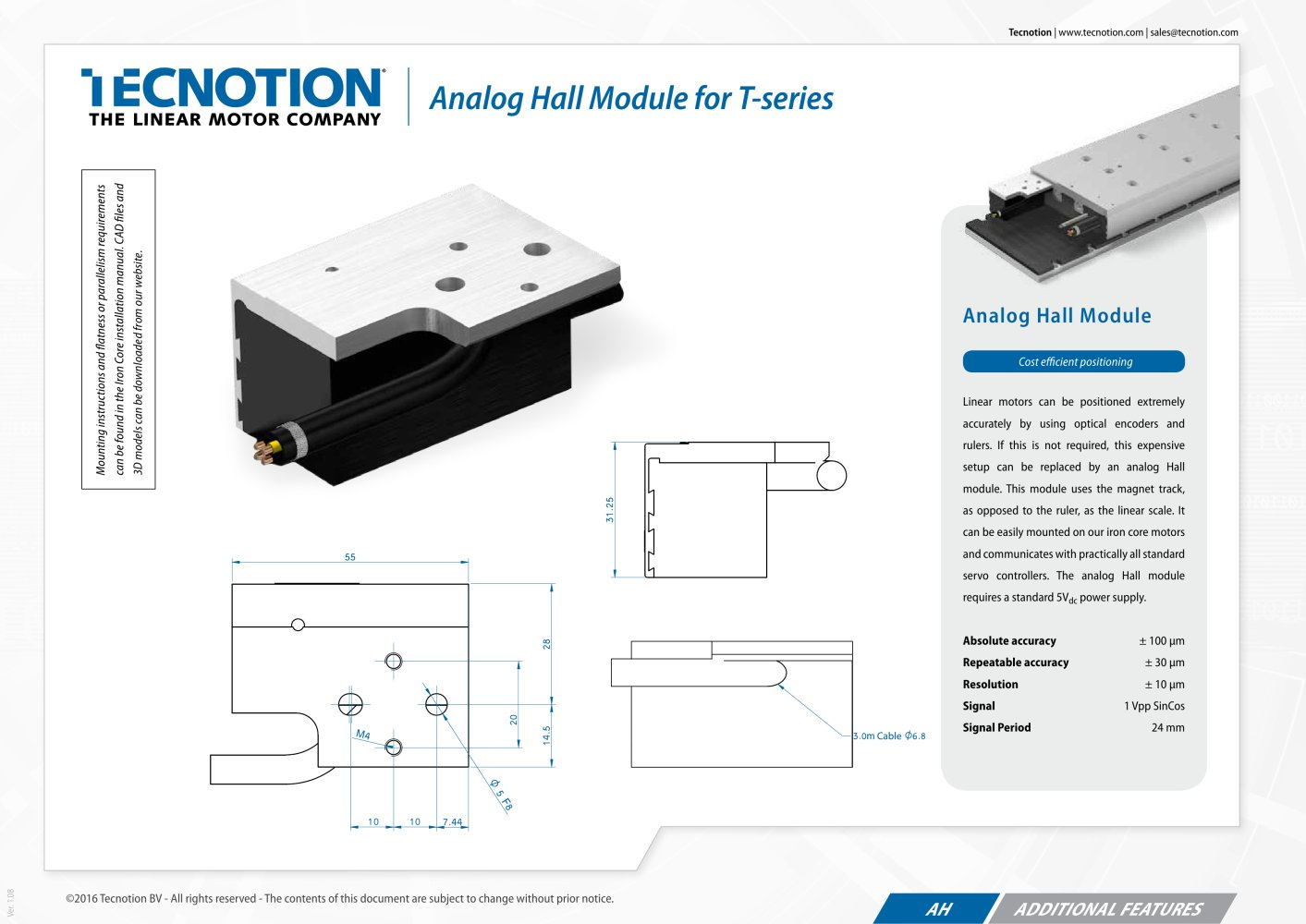 Analog Hall Sensor Tecnotion Bv Pdf Catalogue Technical 1 Pages