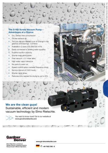 The S-VSI Screw Vacuum Pump –   Advantages at a Glance