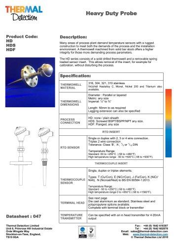 Heavy Duty Industrial Temperature Sensor (HD)