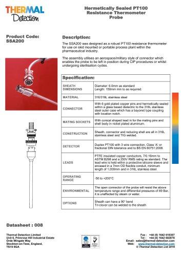 Hermetically Sealed Sensor SSA200