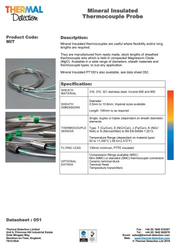 Mineral Insulated Thermocouples (MIT)