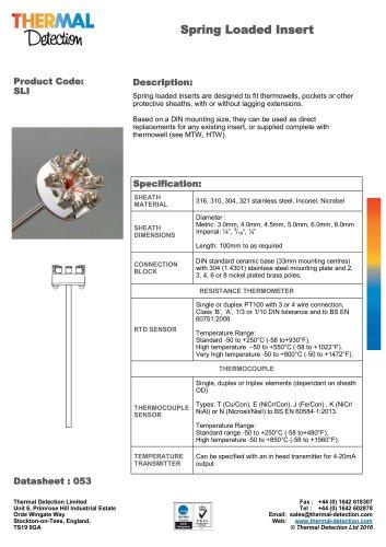 Spring Loaded (SLI) Temperature Sensor Insert