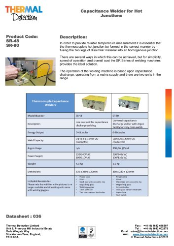 Thermocouple Capacitance Welder (CW)