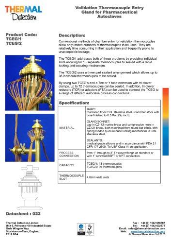 Thermocouple Feedthrough Entry Gland TCEG/1 - TCEG/2