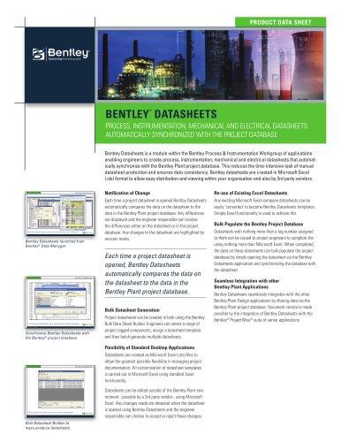 Bentley Datasheets - Bentley Systems Europe B V  - PDF