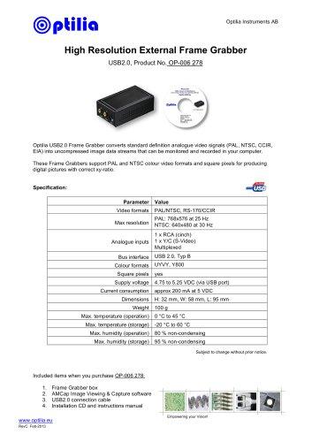 High resolution frame grabber, USB2.0