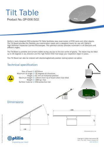 Product sheet, PCB tilt table, ESD-protected