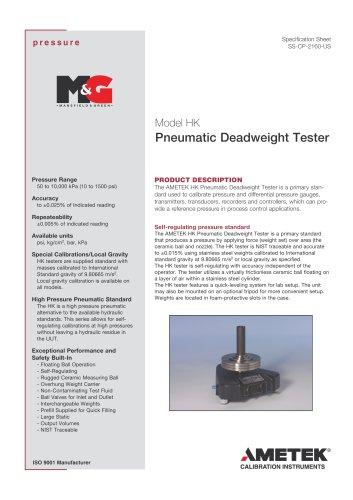 HK Series - Deadweight tester
