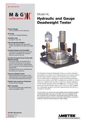 HL Series - Deadweight tester