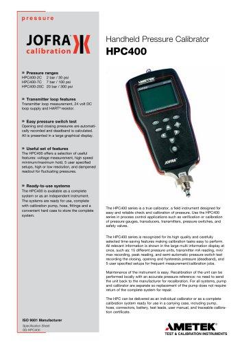 HPC400 - Handheld Pressure Calibrator