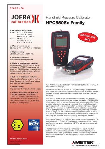 HPC550Ex/552Ex - Handheld Pressure Calibrator