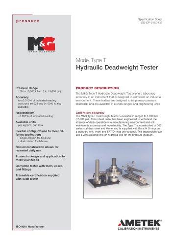 Model Type T Hydraulic Deadweight Tester