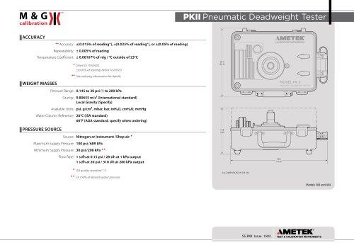 PK ll Series - Deadweight tester