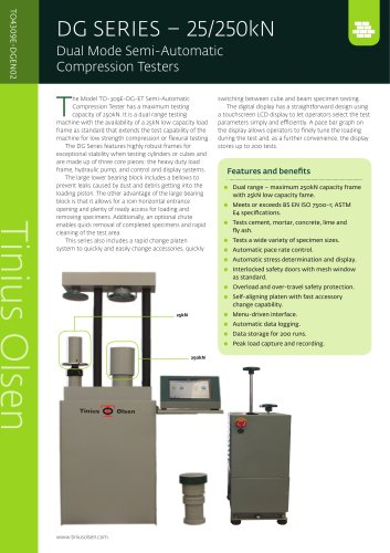 DG SERIES – 25/250kN Dual Mode Semi-Automatic Compression Testers from Tinius Olsen
