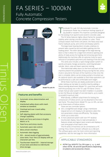 FA SERIES – 1000kN Fully Automatic Concrete Compression Testers from Tinius Olsen