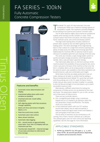 FA SERIES – 100kN Fully Automatic Concrete Compression Testers from Tinius Olsen