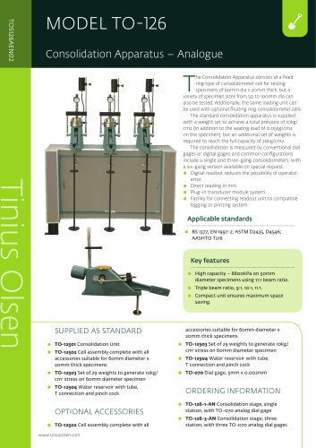 MODEL TO-126 Consolidation Apparatus – Analogue from Tinius Olsen