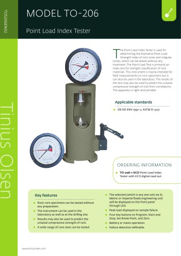 MODEL TO-206 Point Load Index Tester from Tinius Olsen