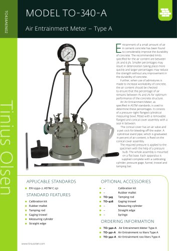 MODEL TO-340-A Air Entrainment Meter – Type A from Tinius Olsen