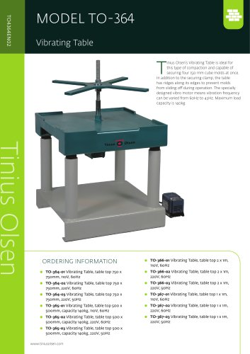 MODEL TO-364 Vibrating Table from Tinius Olsen