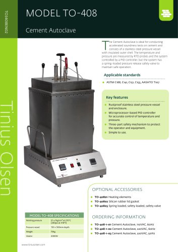 MODEL TO-408 Cement Autoclave from Tinius Olsen